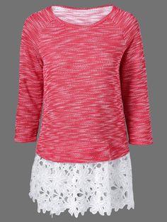 Lace Patchwork Raglan Sleeve Knitting Blouse