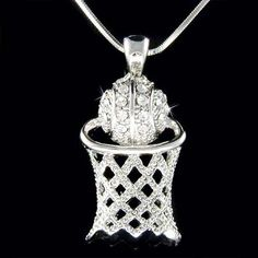 Swarovski Crystal Basketball Hoop Net Sports Pendant Charm Chain Necklace Christmas Gift New on Etsy, $45.00