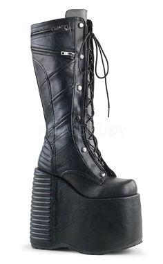 Demonia Damen Gothic Keil Plateau Stiefel Slay 320 schwarz