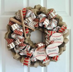 Customizable Baseball Wreath by BurlapandBrushstroke on Etsy