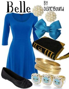 Belle outfit - by disneybound Disney Character Outfits, Disney Themed Outfits, Character Inspired Outfits, Disney Dresses, Disney Clothes, Disney Characters, Moda Disney, Disneybound Outfits, Belle Disneybound
