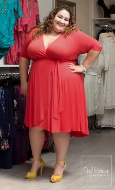 "Our wonderful Wholesale Manager Vannessa (5'8"") is at it again with a fun and bright dress to match her personality. Visit www.kiyonna.com to find wrap dresses and more! #KiyonnaPlusYou #Kiyonna #Plussize  #OOTD"
