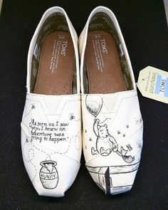 b85d5ae77932 Disney Classic Winnie the Pooh and Piglet Love Wedding Custom hand painted  Bridal Shoes