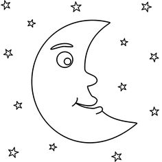 this crescent moon with stars coloring page features a picture of a crescent moon with a face and stars to color the coloring page is printable and can be