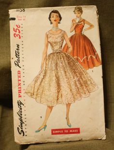 Simplicity 1158 Vintage 1950s Dress Sewing by EleanorMeriwether, $10.00