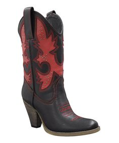 Take a look at this Black & Red Rio Grande Cowboy Boot by Very Volatile on #zulily today!