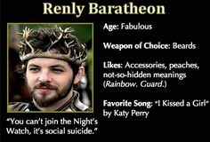 Game of Thrones Trading Cards - Renly Baratheon