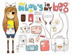 by ~qiji on deviantART on We Heart It Backpack Drawing, Drawing Bag, Kawaii Doodles, Kawaii Chibi, What In My Bag, What's In Your Bag, Funny Drawings, Kawaii Drawings, What's In My Backpack
