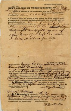 Black History Month: Document of a bill of sale for slave woman named Philis, 1845