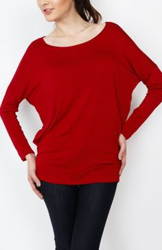 Red Knit Long Sleeve Top - #WholesaleTops, #Casual #DayTops, #Solid, #Dressy #Chic #Trendy, #Spring #SpringWear, #CloseoutTops