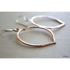 Big Fancy Hoop Earrings Copper and Sterling Silver by Keikeaux via Polyvore