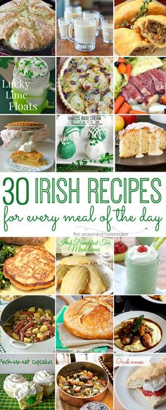 Ready to celebrate St. Patrick's Day. I have 30 Irish Recipes for Every Meal of the Day. www.seasonedhomemaker.com