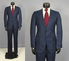 1980s Alexandre Exclusive Men's Navy Suit. Pure Wool Men's Suit. RzO7D