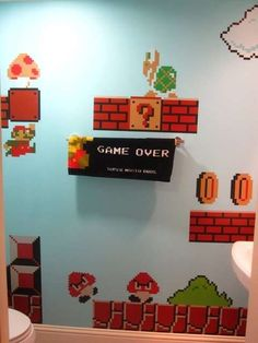The Super Mario Bros Bathroom is a Tribute to the Little Plumber #uniquedecals #stickerdecals trendhunter.com