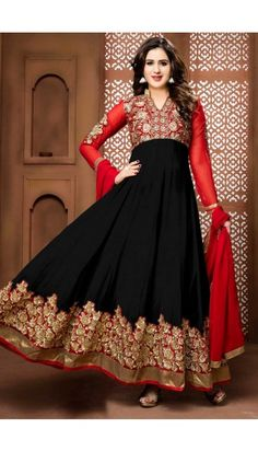 Red And Black Georgette Anarkali Churidar Suit With Dupatta - DMV14263