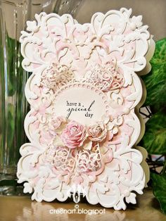 Die-cut card, made by cre8nart, with Anna Griffin Cuttlebug dies...Flourish Medallion