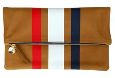 Foldover Clutch, Camel/Red/Wht/Blue | Clare Vivier
