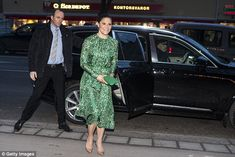 The mother-of-two, who is first in line to the throne after her father Carl XVI Gustaf, was all smiles as she posed for photographs outside the theatre on Thursday evening
