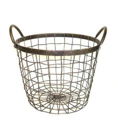 Bloom Room Large Round Metal Wire Basket With Handles