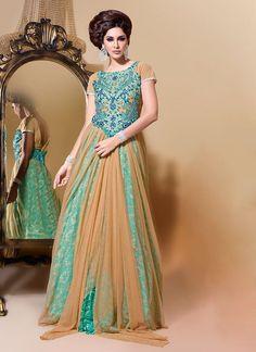 Beige Layered Floor Length Anarkali Suit