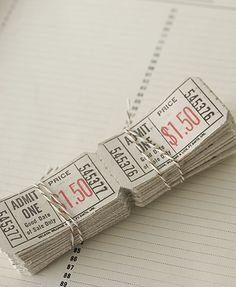 Vintage tickets. admit one :)