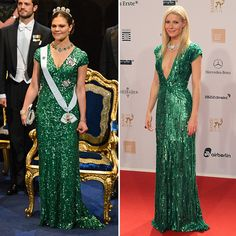 Crown Princess Victoria of Sweden and Gwyneth Paltrow  The Hollywood actress had fashion fans green with envy as she walked the red carpet at the 2011 Bambi awards in a slinky, plunging number by Elie Saab. The following year at the 2012 Nobel Prize ceremony, Sweden's future queen shimmered in a similar emerald gown, which she paired with a show-stopping tiara.
