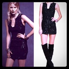 FREE PEOPLE Metallic Mini Dress NWT NWT AND STUNNING!  Perfect for NYE!  Retail $248  SOLD OUT AT FREEPEOPLE  Size 8  Free People Tops Tunics