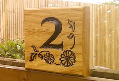 Beautifully Crafted Solid Oak Hardwood Number Plaque personalised and 'V' engraved with your details. 110 x 110 x thick - x Bramble, House Numbers, Solid Oak, Hardwood, Signs, Crafts, Painting, House Number Plates, Natural Wood