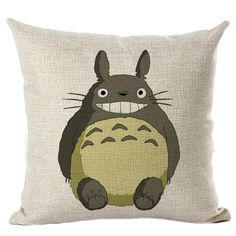 Hyha Totoro Cushion Cover Colorful Creative Totoro Skull Throw Pillow Cover Hayao Miyazaki Comics Cushion Cover for Sofa Decor