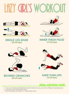 Haha, I love this! I used to do almost this exact routine at night before bed, it was a great way to get some exercise in the evening when all I wanted to do was zonk out. LoL! --- Lazy Girl's Workout