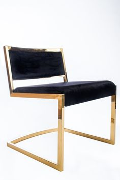 """Materials: Chrome, velvet Measurements : 23""""w x 22""""d x 28.5"""" h, 22 pounds Seat height: 18.5"""" Color : Gold, black This chair can be used as a dining chair, side chair or office chair"""
