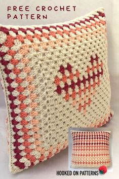 Free Crochet Cushion Cover Design – Hooked On Patterns Free Cushion Cover Crochet Pattern – Make this cute heart shaped pillow cover Cushion Cover Pattern, Crochet Cushion Cover, Cushion Cover Designs, Crochet Cushions, Crochet Pillow, Afghan Crochet, Crochet Home, Free Crochet, Heart Cushion