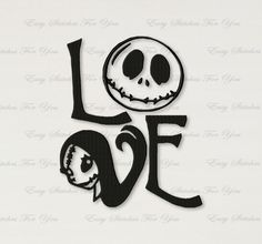 BOGO FREE! Sally and Jack Skellington Machine Embroidery Design, Love Machine Embroidery Design, Instant Download, 4 sizes,  A085 by EasyStitchesForYou on Etsy
