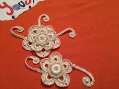 CROCHET IRLANDES. Mi vestido de novia Tutorial. Combinacion de flor y cordon rumano en crochet irlandes