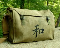 Kanji Peace on a Vintage Military Messenger. by clpstudio on Etsy, $62.00