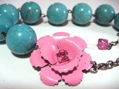 Asymmetrical Rose Necklace in Turquoise and Pink by NightsRequiem, $20.00