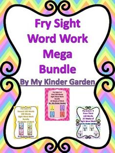 This is a Mega Fry Sight Word Work Bundle. It includes 3 of my bundled items together in one mega bundle. Items included from my TPT store are: Fry List 1-4 Bundle First 100 Words 20 Weeks of Sight Word Work, Fry List 1-4 Bundle Second 100 Words 20 Weeks of Sight Word Work, Fry List 1-4 Bundle Third 100 Words 20 Weeks of Sight Word Work. This bundle can be used in class as daily work or can be sent home for homework as a weekly packet. It can also be sent home for work over the summer.