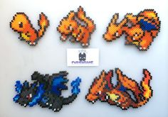 Pokemon Charmander Charizard Mega Charizard Perler Bead por SDKD perler,hama,square pegboard,video games,nintendo,pokemon,