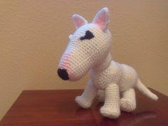 tallerdemaó: Bull Terrier (P) Diy Crochet Gifts, Crochet Baby, Free Crochet, Knit Crochet, Crotchet Animals, Bull Terrier, Free Pattern, Pitbulls, Dinosaur Stuffed Animal