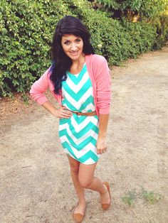 Love the chevron and the pink cardigan! Need help putting colors like this together.