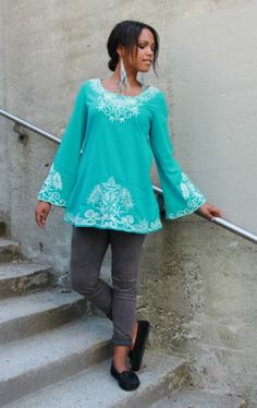 Embroidered Kurta Top in Turquoise with stunning embroidery and pretty bell sleeves. Made of soft cotton. By Indiverve.    #clothing #embroidery #turquoise