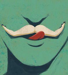mustache lips woman