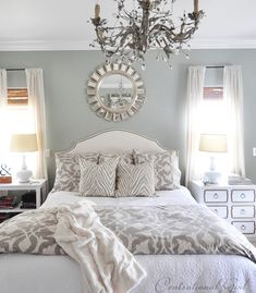 Master Bedroom Grey Walls light blue gray paint colors | blue gray bedroom, grey bed and