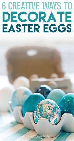 GORGEOUS! Learn how to decorate Easter eggs in these 6 creative ways using things you already have on hand with these simple tutorials.
