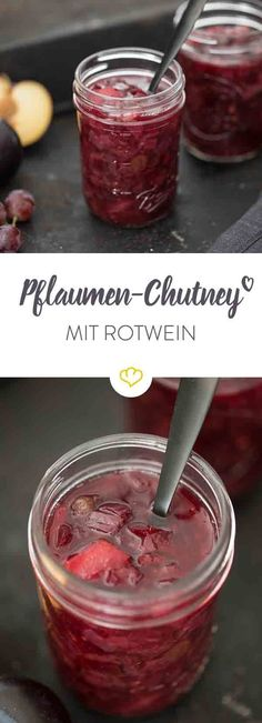 - For the summer barbecue and the Christmas goose: Spicy plum red wine chutney you should have the whole year in stock. Chutneys, Veggie Juice, Summer Barbecue, Cooking Wine, Diy Food, Sweet Recipes, Ayurveda, Plum, Dessert Recipes