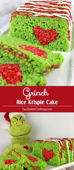 Grinch Rice Krispie Cake - adorable, delicious and fun! This lovely Grinch Christmas Dessert will be a hit with your family or your party guests, we've never met anyone who doesn't love Rice Krispie Treats. This fun Christmas Treat would be perfect for a Holiday Bake Sale or a How the Grinch Stole Christmas family movie night. Pin it for later and follow us for more great Christmas Food Ideas recipes.