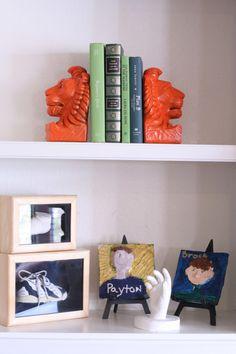 Spring Color Lion Bookends Orange Green Hardcover Books