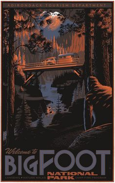 Laurent Durieux Myths and Monsters Bigfoot Poster Release Details National Park Posters, National Parks, Laurent Durieux, Pie Grande, Film Mythique, Omg Posters, Movie Posters, Myths & Monsters, Bigfoot Sasquatch