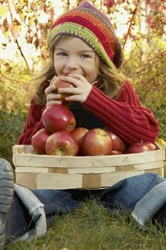 ✿campestre - Fall, apple harvest 'Little girl save some of those apples for your family.an apple a day keeps the doctor away '' xo Apple Farm, Apple Orchard, Apple Harvest, Fall Harvest, Harvest Time, Image Deco, Apple Season, Jolie Photo, Red Apple