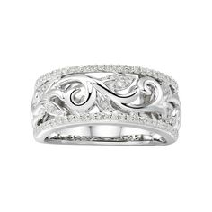 Zales 1/6 CT. T.w. Diamond Multi-Row Crossover Ring in Sterling Silver si9OncFEpz